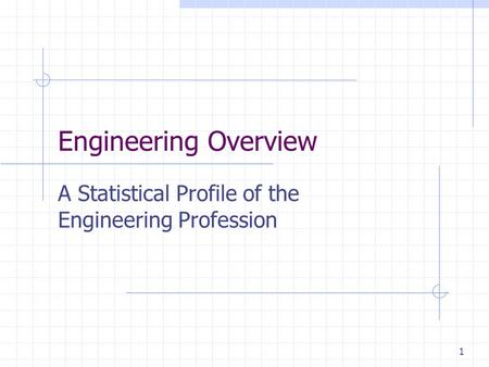 1 Engineering Overview A Statistical Profile of the Engineering Profession.