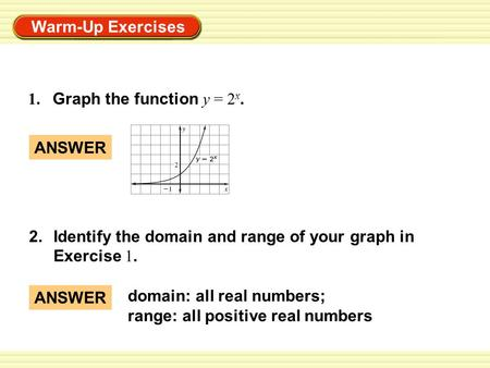 1.	Graph the function y = 2x. ANSWER