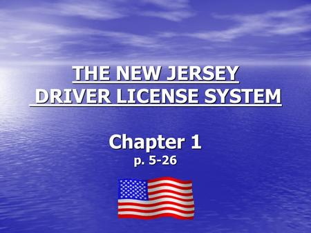 THE NEW JERSEY DRIVER LICENSE SYSTEM Chapter 1 p. 5-26.