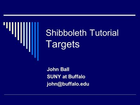 Shibboleth Tutorial Targets John Ball SUNY at Buffalo