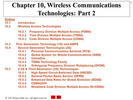  2001 Prentice Hall, Inc. All rights reserved. 1 Chapter 10, Wireless Communications Technologies: Part 2 Outline 10.1 Introduction 10.2Wireless Access.