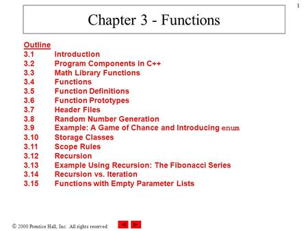  2000 Prentice Hall, Inc. All rights reserved. 1 Chapter 3 - Functions Outline 3.1Introduction 3.2Program Components in C++ 3.3Math Library Functions.