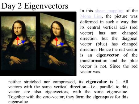 Day 2 Eigenvectors neither stretched nor compressed, its eigenvalue is 1. All vectors with the same vertical direction—i.e., parallel to this vector—are.