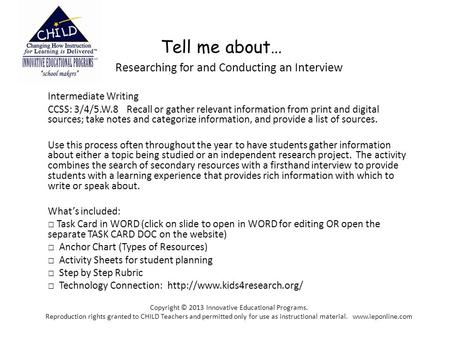 Tell me about… Researching for and Conducting an Interview