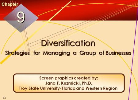 9-1 Diversification Strategies for Managing a Group of Businesses 99 Chapter Screen graphics created by: Jana F. Kuzmicki, Ph.D. Troy State University-Florida.