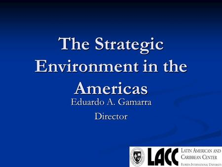 The Strategic Environment in the Americas Eduardo A. Gamarra Director.