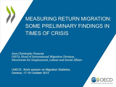 MEASURING RETURN MIGRATION: SOME PRELIMINARY FINDINGS IN TIMES OF CRISIS 1 Jean Christophe Dumont OECD, Head of International Migration Division, Directorate.