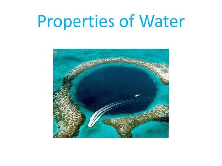 Properties of Water. The main constituent of the oceans is of course, water. The presence of large amounts of liquid water on Earth's surface over much.