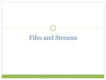 Files and Streams. Objectives Learn about the classes that support file input/output Understand the concept of abstraction and how it related to the file.