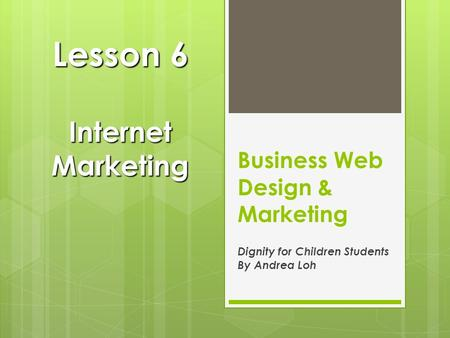 Business Web Design & Marketing Dignity for Children Students By Andrea Loh Lesson 6 Internet Marketing.