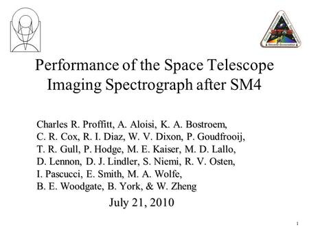 Performance of the Space Telescope Imaging Spectrograph after SM4 Charles R. Proffitt, A. Aloisi, K. A. Bostroem, C. R. Cox, R. I. Diaz, W. V. Dixon, P.