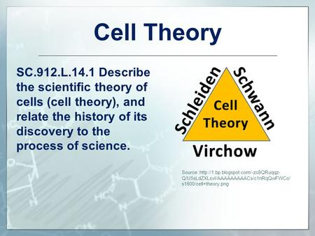 Cell Theory SC.912.L.14.1 Describe the scientific theory of cells (cell theory), and relate the history of its discovery to the process of science. Source: