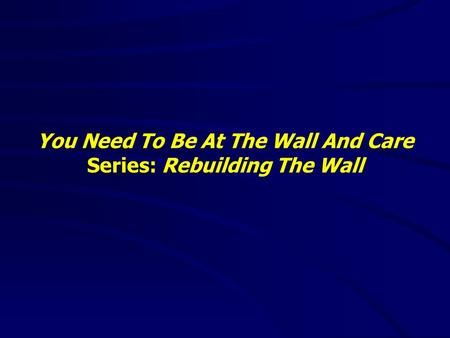 You Need To Be At The Wall And Care Series: Rebuilding The Wall.