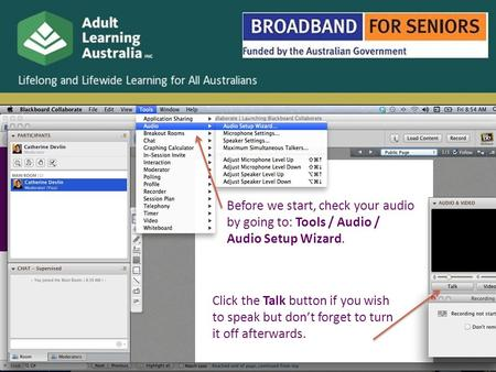 Before we start, check your audio by going to: Tools / Audio / Audio Setup Wizard. Click the Talk button if you wish to speak but don't forget to turn.