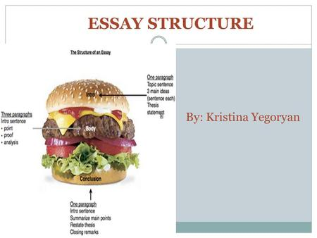 "By: Kristina Yegoryan ESSAY STRUCTURE. WHAT IS AN ESSAY? The word ""essay"" means ""to try."" An essay is a piece of writing which is often written from an."
