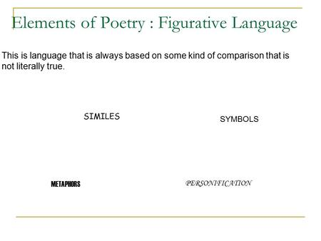 Elements of Poetry : Figurative Language This is language that is always based on some kind of comparison that is not literally true. SIMILES METAPHORS.