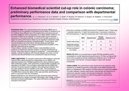 Enhanced biomedical scientist cut-up role in colonic carcinoma; preliminary performance data and comparison with departmental performance. E. J. V. Simmons*
