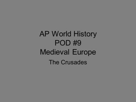 The impact of the crusades in the history of europe