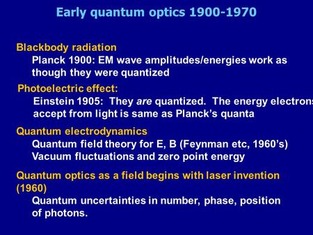 Early quantum optics 1900-1970 Blackbody radiation Planck 1900: EM wave amplitudes/energies work as though they were quantized Photoelectric effect: Einstein.