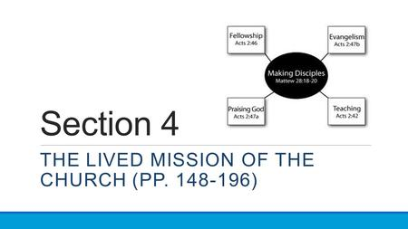 Section 4 THE LIVED MISSION OF THE CHURCH (PP. 148-196)