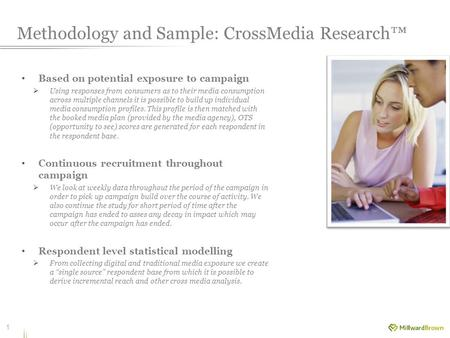 Methodology and Sample: CrossMedia Research™ Based on potential exposure to campaign  Using responses from consumers as to their media consumption across.