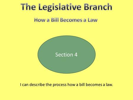 Section 4 I can describe the process how a bill becomes a law.