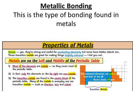 Metallic Bonding This is the type of bonding found in metals.