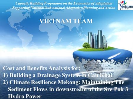 LOGO Capacity Building Programme on the Economics of Adaptation Supporting National/Sub-national Adaptation Planning and Action VIETNAM TEAM Cost and Benefits.