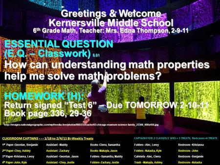 Greetings & Welcome Kernersville Middle School 6 th Grade Math, Teacher: Mrs. Edna Thompson, 2-9-11 ESSENTIAL QUESTION (E.Q. – Classwork) 5.01 How can.