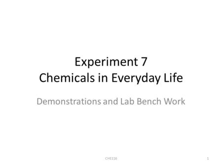 Experiment 7 Chemicals in Everyday Life