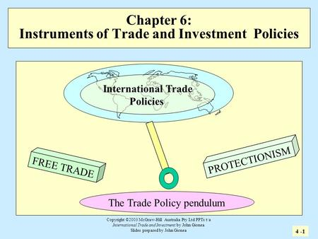 Copyright ©2003 McGraw-Hill Australia Pty Ltd PPTs t/a International Trade and Investment by John Gionea Slides prepared by John Gionea Chapter 6: Instruments.