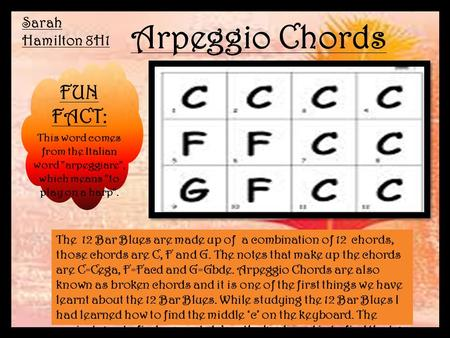Arpeggio Chords FUN FACT: This word comes from the Italian word arpeggiare, which means to play on a harp. The 12 Bar Blues are made up of a combination.