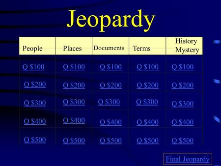 Jeopardy PeoplePlaces Documents Terms History Mystery Q $100 Q $200 Q $300 Q $400 Q $500 Q $100 Q $200 Q $300 Q $400 Q $500 Final Jeopardy.