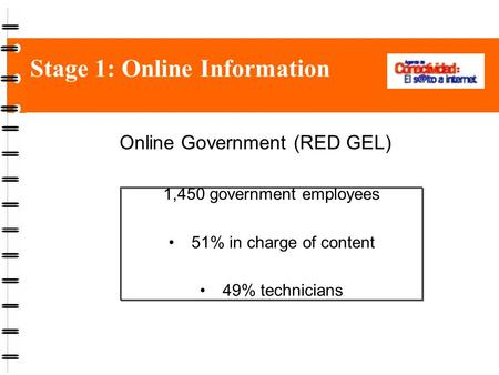Stage 1: Online Information Online Government (RED GEL) 1,450 government employees 51% in charge of content 49% technicians.