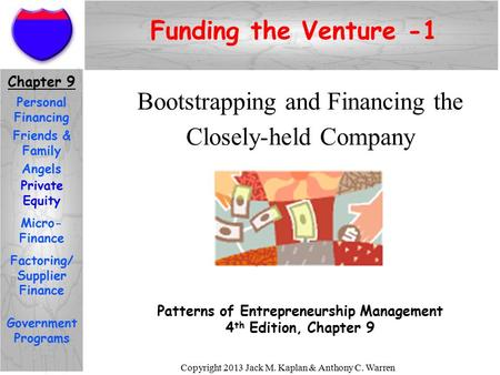 Copyright 2013 Jack M. Kaplan & Anthony C. Warren Bootstrapping and Financing the Closely-held Company Patterns of Entrepreneurship Management 4 th Edition,