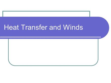 Heat Transfer and Winds. Heat is transferred in three ways Radiation Conduction Convection.