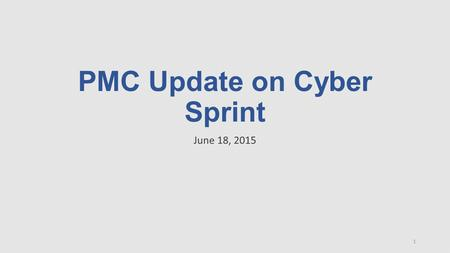 PMC Update on Cyber Sprint June 18, 2015 1. Overview: 30-Day Cyber Sprint 1.Interagency Cyber Sprint Team: Launched June 11 and executing against the.