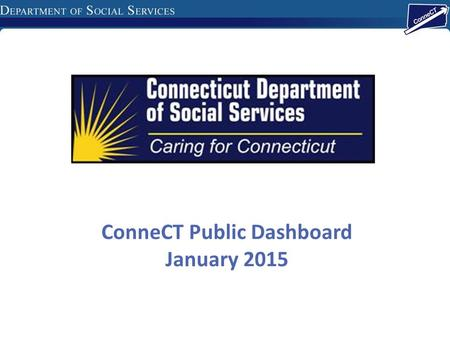 ConneCT Public Dashboard January 2015. DSS Work Items Online Applications 51,114 Applications submitted since soft launch 10/13 MyAccount Pre-Screening.