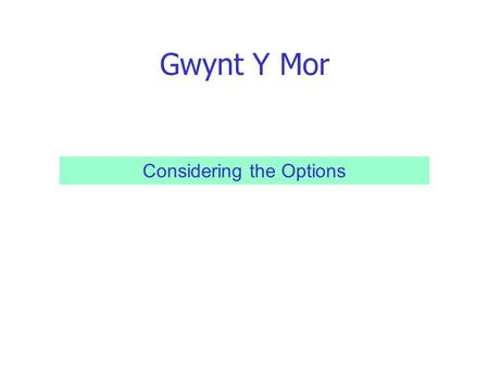 Gwynt Y Mor Considering the Options. Gwynt Y Mor Open Grant Application Process - Broad Themes Themed Grant Application Process - Specific Priorities.