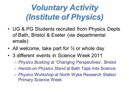 Voluntary Activity (Institute of Physics) UG & PG Students recruited from Physics Depts of Bath, Bristol & Exeter (via departmental emails) All welcome,