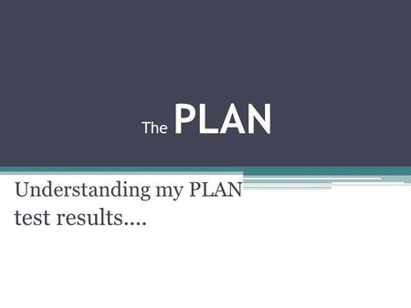 The PLAN Understanding my PLAN test results..... Purpose of PLAN 1. How am I doing so far? PLAN results shows your relative strengths and weaknesses in.