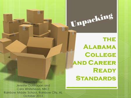 The Alabama College and Career Ready Standards Unpacking Presented by: Jennifer Dunnagan and Cara Whitehead, NBCT Rainbow Middle School, Rainbow City,