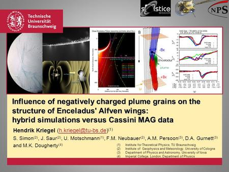 Influence of negatively charged plume grains on the structure of Enceladus' Alfven wings: hybrid simulations versus Cassini MAG data Hendrik Kriegel
