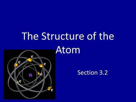 The Structure of the Atom Section 3.2. Introduction Atom: the smallest particle of an element that retains the chemical properties of that element Nucleus: