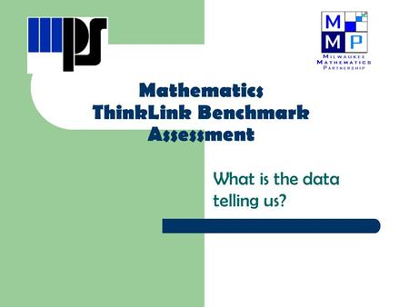 Mathematics ThinkLink Benchmark Assessment What is the data telling us?