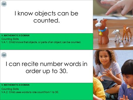 V. MATHEMATICS DOMAIN I know objects can be counted. I can recite number words in order up to 30. Counting Skills V.A.1. Child knows that objects, or parts.