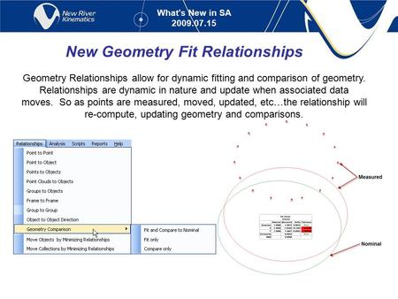 New Geometry Fit Relationships Geometry Relationships allow for dynamic fitting and comparison of geometry. Relationships are dynamic in nature and update.