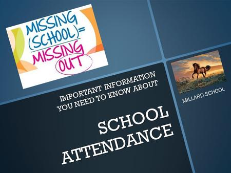 SCHOOL ATTENDANCE IMPORTANT INFORMATION YOU NEED TO KNOW ABOUT MILLARD SCHOOL.