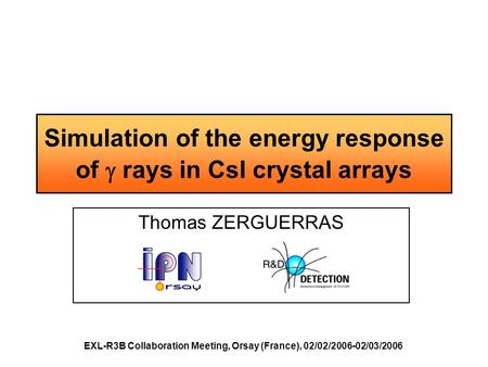 Simulation of the energy response of  rays in CsI crystal arrays Thomas ZERGUERRAS EXL-R3B Collaboration Meeting, Orsay (France), 02/02/2006-02/03/2006.
