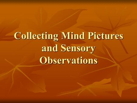Collecting Mind Pictures and Sensory Observations.
